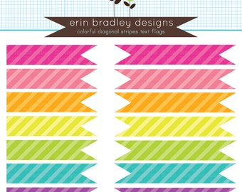 50% OFF SALE Diagonal Striped Flags Clipart Clip Art Digital Scrapbooking Personal & Commercial Use