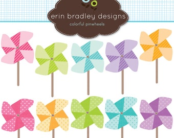 Instant Download Pinwheels Clipart Clip Art for Personal & Commercial Use Digital Designs