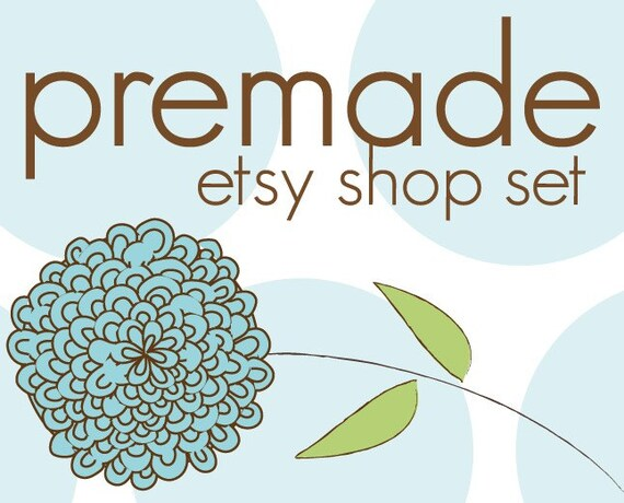 Premade Soft Blue Hydrangea Flower and Polka Dots Banner and Avatar Etsy Shop Set
