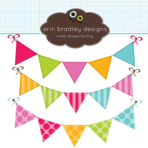 Colorful Bunting Clipart Clip Art Banner by ErinBradleyDesigns