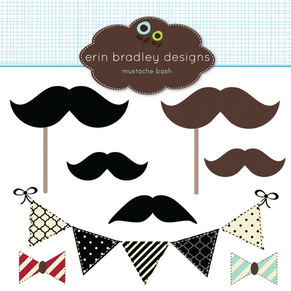 50% OFF SALE Mustache Bash Clipart Clip Art Personal and Commercial Use Bunting Banner Flags Bowties