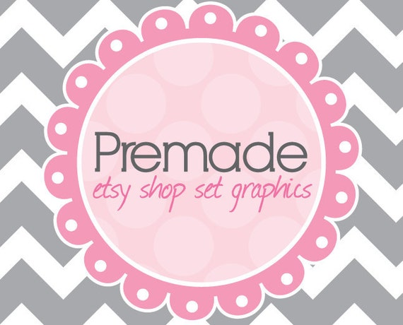 Premade Etsy Shop Banner and Avatar Set with Business Card Pink and Grey Chevron Stripes