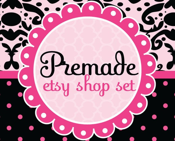 Premade Etsy Shop Banner and Avatar Set with Business Card Hot Pink and Black Damask and Polka Dots