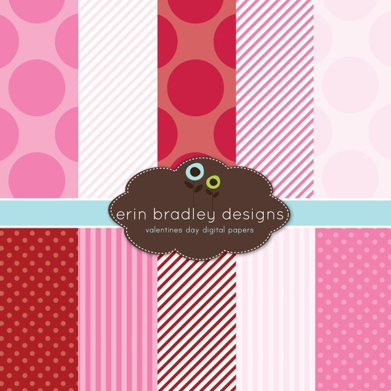 Instant Download Digital Scrapbook Papers Personal and Commercial Use Valentines Day Red Pink