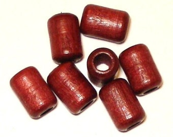 6x9mm Cylinder Tube Wood Beads, Tube Wooden Beads (35) Mahogany