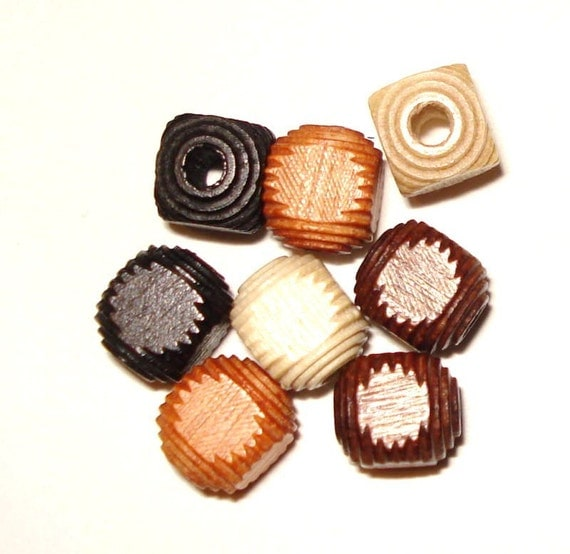 8mm Carved Cube Wood Beads, Carved Cube Wooden Beads (30) Earthy Mix