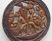 Primitive wood carving People harvesting food Palm trees Large 16 inches round