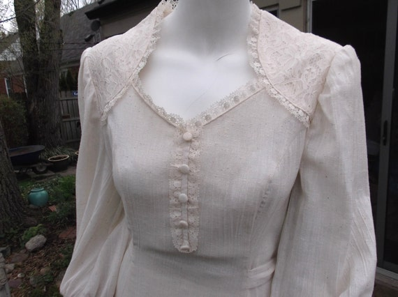 RESERVED for Ian reduced By 15.00 Elegant, yet plain muslin PEASANT prairie, or Country WEDDING dress with lace, off white