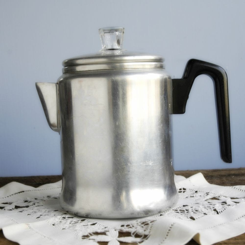 Items similar to vintage coffee pot aluminum stove top for Best coffee percolator