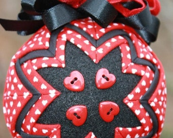 Valentine's Day Quilted Gift with Red Heart Buttons