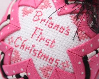 Hot Pink/ Zebra Print Baby's First Christmas Ornament / Personalized/Quilted Keepsake Ornament