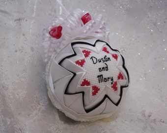 Personalized Quilted Wedding Ornament/Our First Christmas