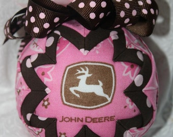 Pink John Deere Quilted Ornament