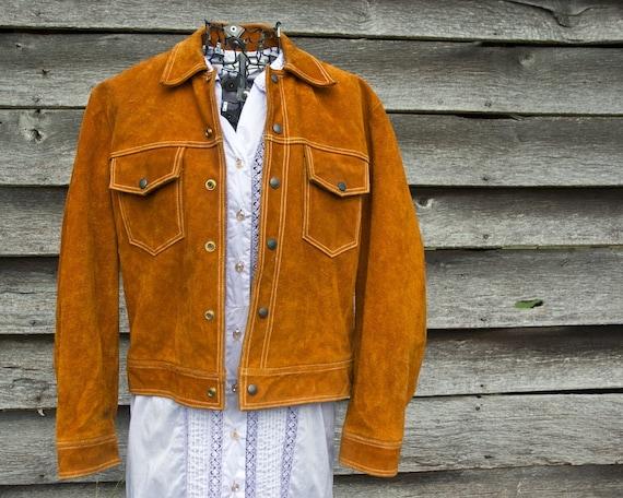 Vintage Brown Suede Jacket.  Leather Coat, Mens Size M or S