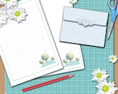 Notepaper (With or without lines, your choice) with bonus envelope - Printable PDF - Three Trees Design