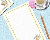 Printable Teapot Note Paper (With Lines)