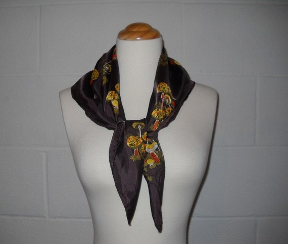 1960s Psychedelic Mushrooms Scarf Brown Mustard Yellow Scarf