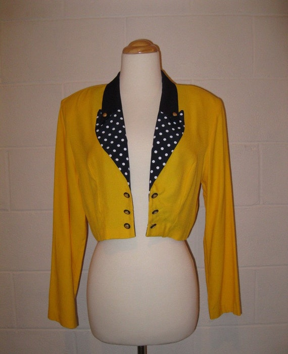 Sale - vintage Bright Yellow Navy Polka Dot Cropped Military Style Jacket S / M