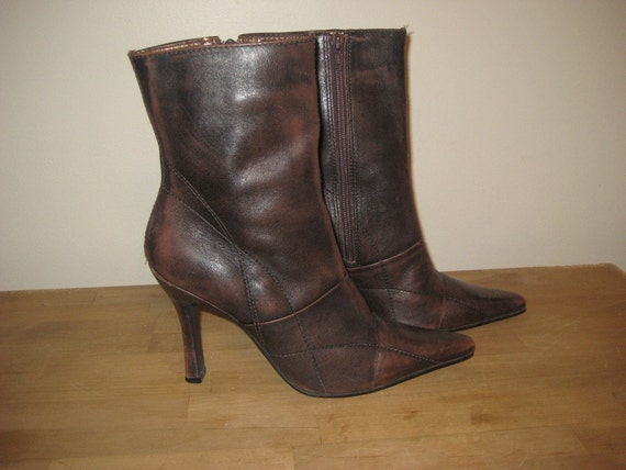 vintage 80s gorgeous distressed brown leather candies boots
