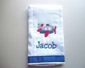 Persoanlized airplane burp cloth with blue and white  polka dot ribbon