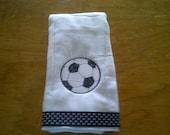 Soccer ball embroidered burp cloth