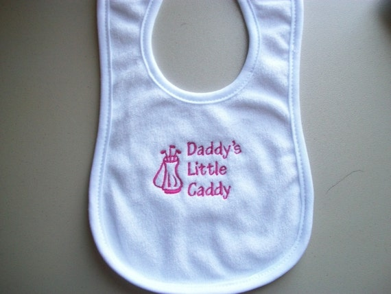 Daddy's little caddy embroidered bib in hot pink