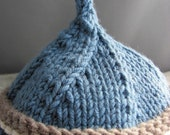 Knit Hat - Natural Wool - Newborn - moondogfarm