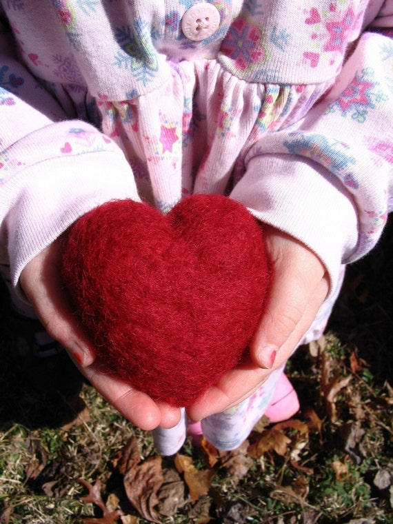 Lavender Heart - Needle Felted Wool Filled with Lavender