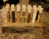 Beautiful Log style Spice/Storage Rack- includes tubes and corks
