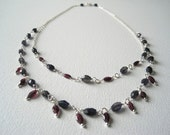 Iolite and Garnet Double Strand Drop Necklace (in sterling silver)