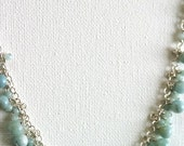 Pale Turquoise Opal and Amazonite Clustered Necklace