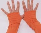 Arm Warmers in Little Pumpkin Orange - Cotton Fingerless Gloves Mitts - Sleeves