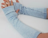 Arm Warmers in Ice Blue - Sleeves (Upcycled Cotton/Cashmere Fingerless Gloves) OOAK