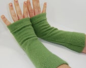 Arm Warmers in Spring Green Angora - Sleeves - Recycled - Fingerless Gloves Mitts