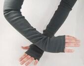 Arm Warmers in Slate Grey - Long Fingerless Gloves - Sleeves - LAST PAIR
