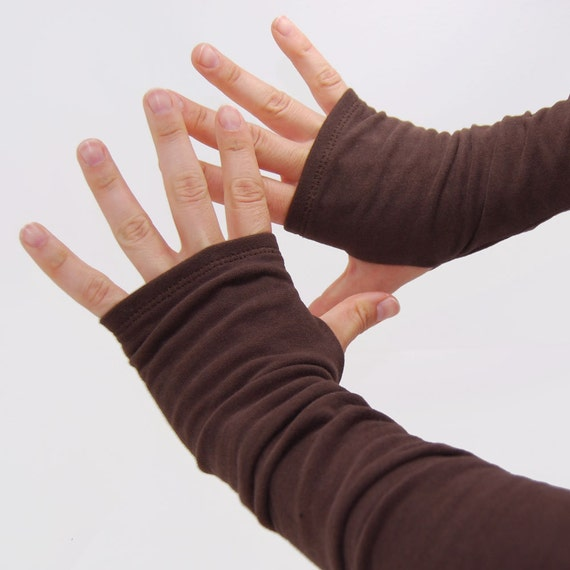 Arm Warmers in Hot Chocolate Brown - Fingerless Gloves Mitts - Sleeves - XS/S size