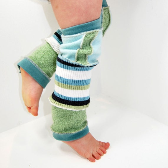 Leg Warmers for Kids - Sunny Skies Blue and Green Sparkle - Recycled Sweaters