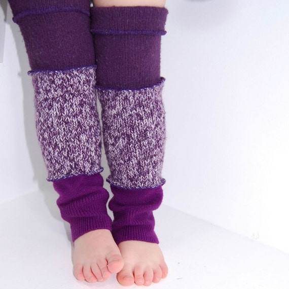 Leg Warmers for Kids - Speckled Purple and Plum - Recycled Sweaters - Eco Friendly