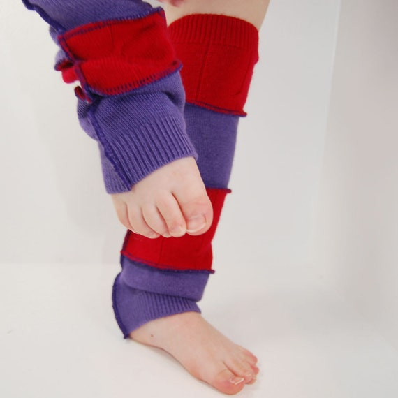 Leg Warmers for Kids - Tulip Red and Lavender Purple - Recycled Sweaters