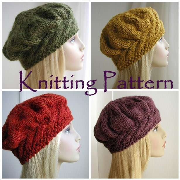 Weekend Cable Beret Tam Hat Knitting Pattern by ...