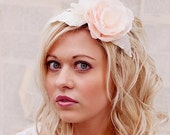 Reserved for Brooke - Wedding Flower Hair Piece - Blush Pink headpiece - wedding hair accessories - and handmade silk dupioni leaves