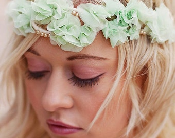 Ombre Ruffle wedding crown head piece -  bridal halo headband  tiara - comes in 5 colors - silk ruffle flowers