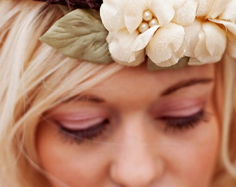 Wedding headband - Rustic Woodland Halo - boho bridal crown halo - wedding hair accessories