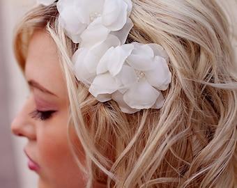 Bridal Hair Flowers - Hair Accessory -  Cascading Wedding Flower Hair Piece  - Handmade flowers and beading