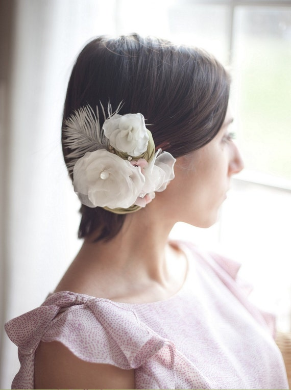 Wedding hair piece flower bridal headpiece feather hair clip, Wedding Hair Accessories, ivory, pink and moss green, Love is in Bloom