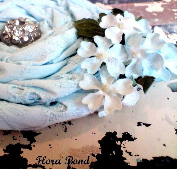 Lovely light blue eyelet (( brooch )) vintage, fabric, millinery flowers, and rinestones