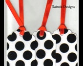 Black PolkaDots on White Tags Set of 3
