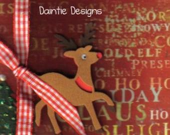 Handmade Rudolph Christmas Greeting Card