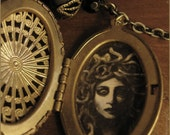 Medusa illustrated locket necklace with mother of pearl labradorite onyx - illustrated jewelry