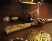 Witches Halloween set- copper cauldron with beewax tealight candle- brass pentacle- besom broom-amethyst-mossagate